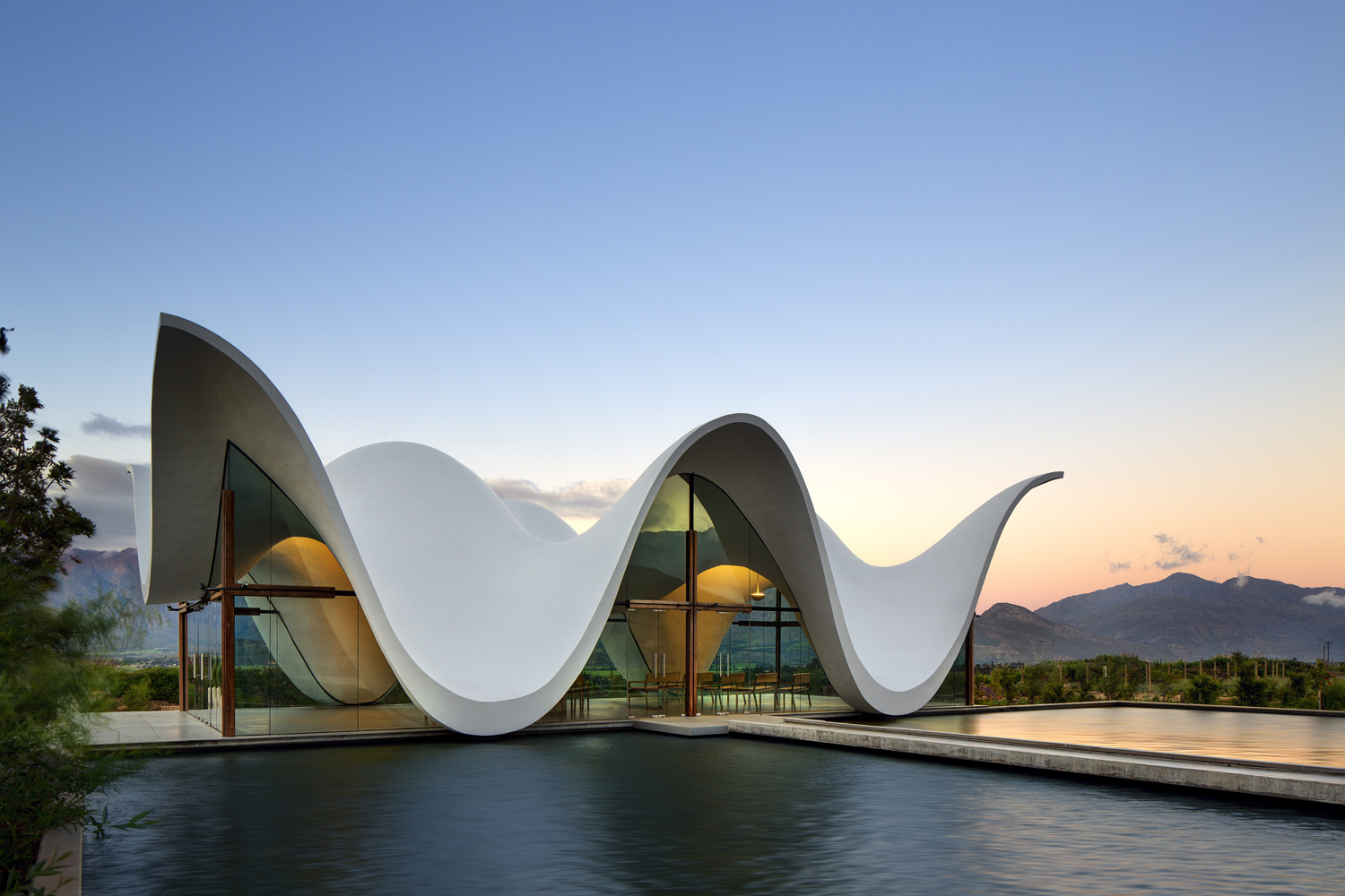 The concave rooflines of this church are made possible by their convex load-bearing counterparts