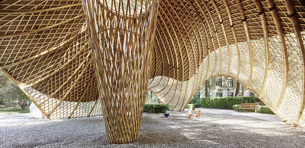 bamboo construction digital technologies Swirling Cloud: Pavilion for BJFU Garden Festival by SUP Atelier, Haidian, Beijing, China.